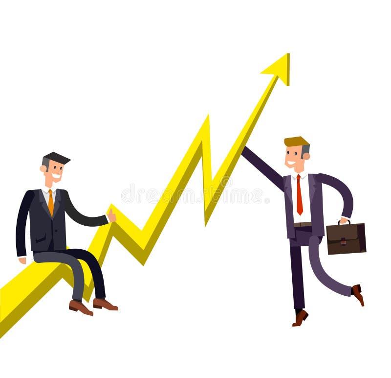 Детализированный вектором бизнесмен характера взобрался растущий план-график иллюстрация вектора