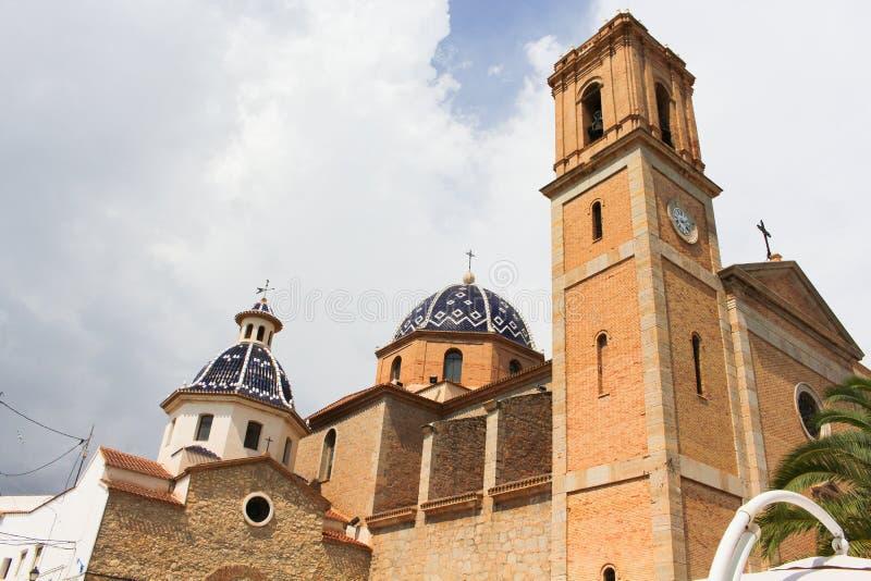 Детализируйте взятие голубых куполов церков ориентир ориентира Altea, Blanca Косты, Испании стоковое изображение rf