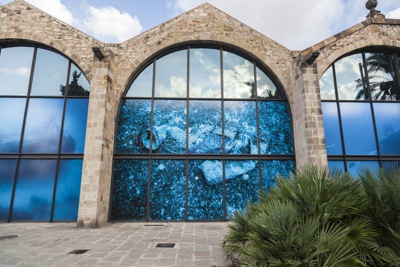 Детализируйте стены верфи Барселоны королевской, Drassanes Reials, готической верфи в порте Vell Барселоны стоковое фото