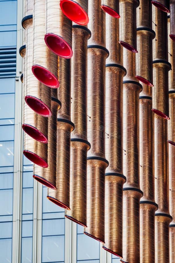 Детализируйте съемку сделанной по образцу стены, архитектурноакустической характеристики стоковое изображение rf