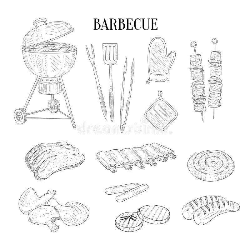 Детали барбекю родственные и эскиз еды нарисованный рукой реалистический иллюстрация вектора