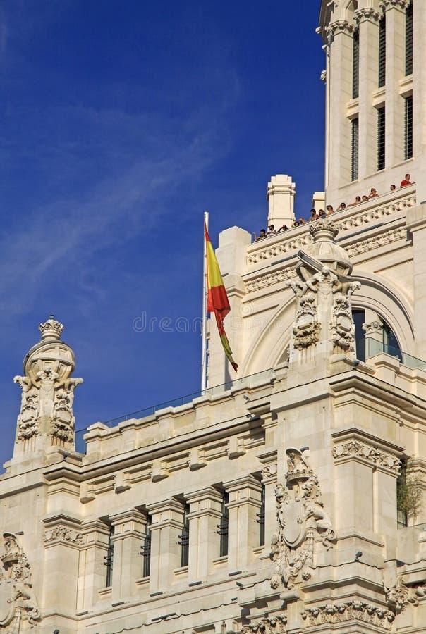 Детали дворца Telecomunications - здание муниципалитета Мадрида на квадрате Cibeles madrid Испания стоковое изображение rf