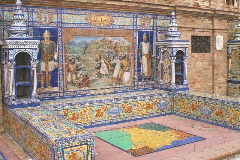 Детали площади de Espana Квадрата в Севилье, Испании стоковые фото