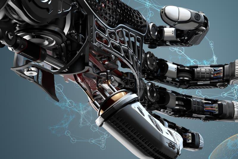Детали робототехнической руки крупного плана mech иллюстрация штока