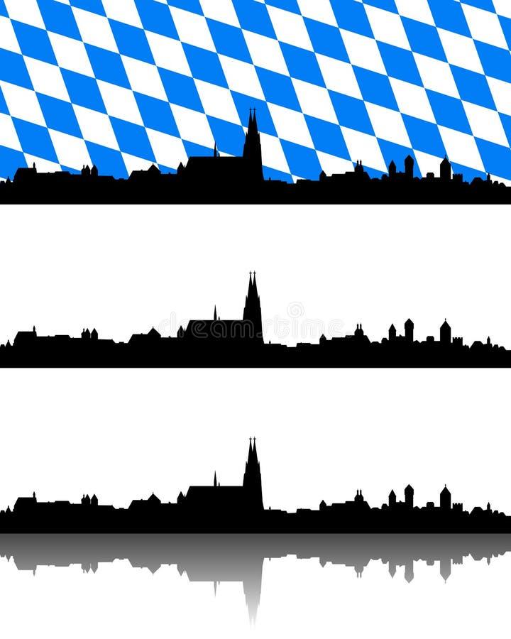 Силуэт Регенсбурга, Баварии иллюстрация вектора