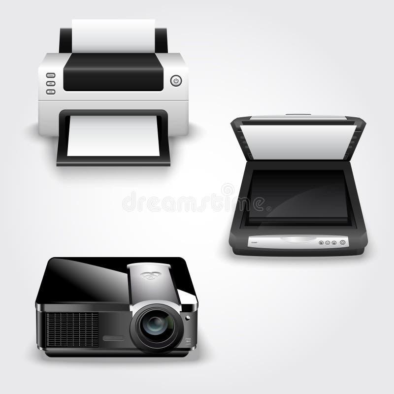 Детальная иллюстрация абстрактных принтера, блока развертки и репроектора иллюстрация вектора