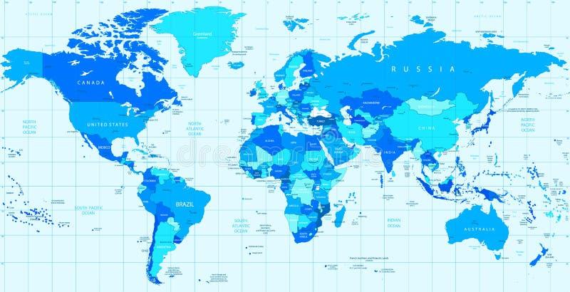 Детальная карта мира вектора голубых цветов бесплатная иллюстрация