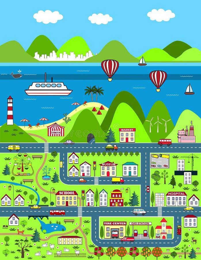 Детальная карта шаржа с городом, горами, и морем иллюстрация штока