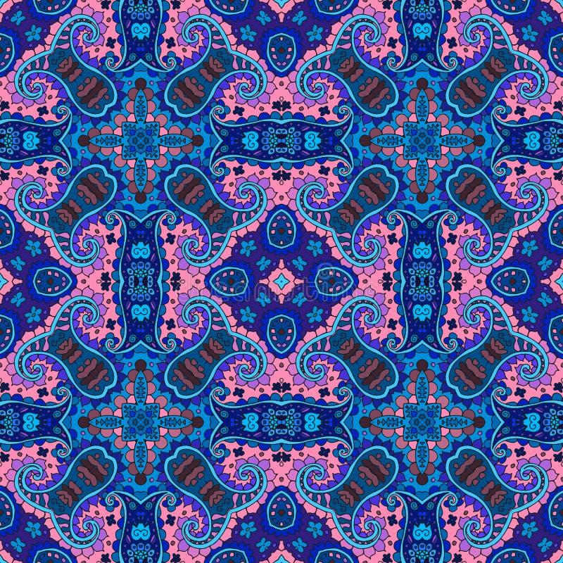Детальная картина флористических и Пейсли безшовная квадратная Предпосылка вектора средневековая иллюстрация вектора