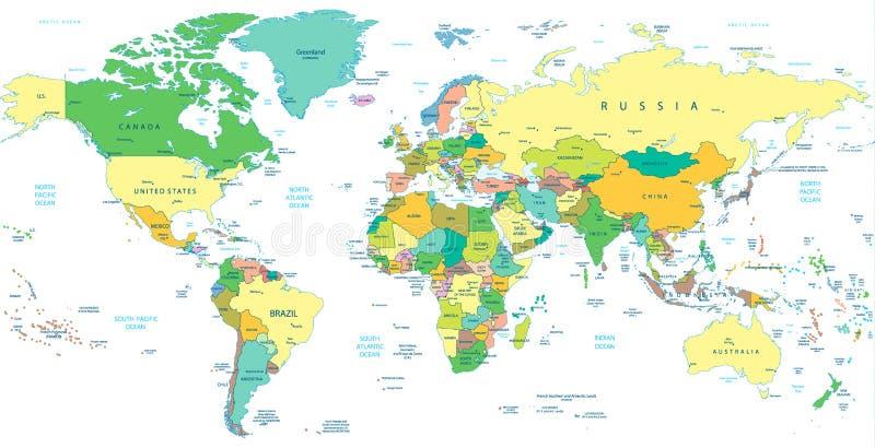 Детальная политическая карта мира изолированная на белизне иллюстрация штока