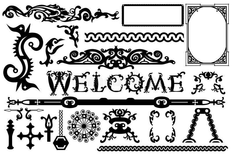 Детальные винтажные элементы вектора в готическом стиле хеллоуина: шрифт, рамки, свирли, орнаменты, разделяет etc иллюстрация штока