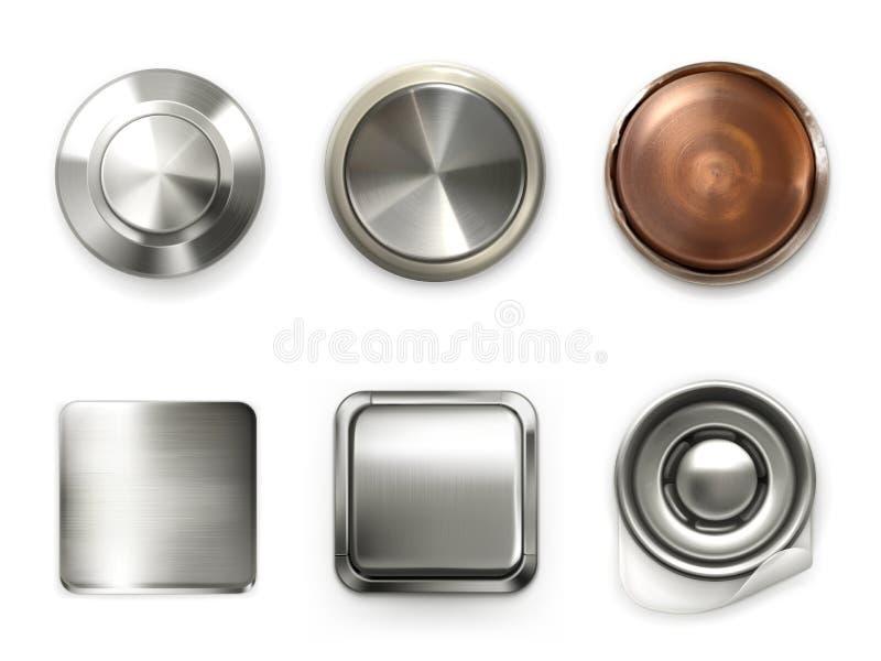 Детальные кнопки металла, комплект иллюстрация вектора