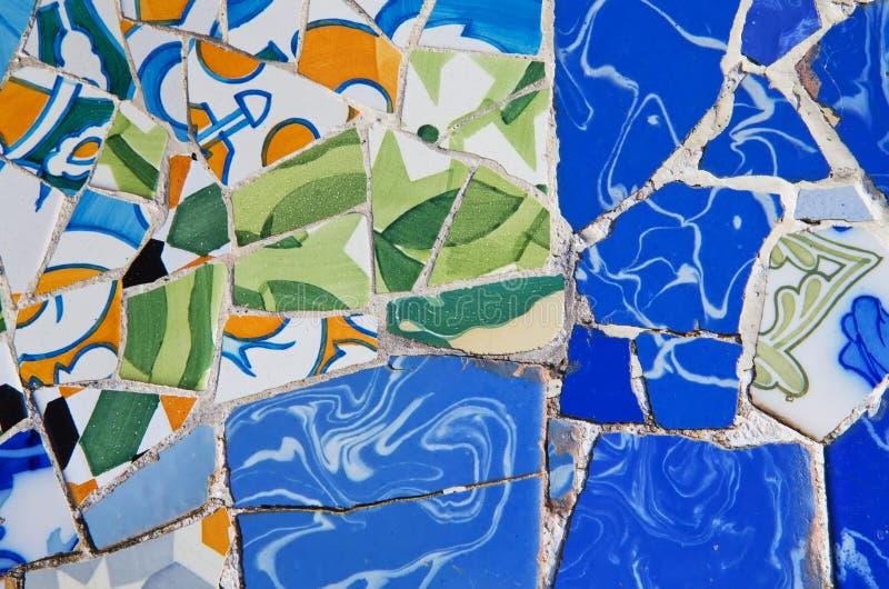 Детальный взгляд керамической мозаики (Барселона) стоковое фото