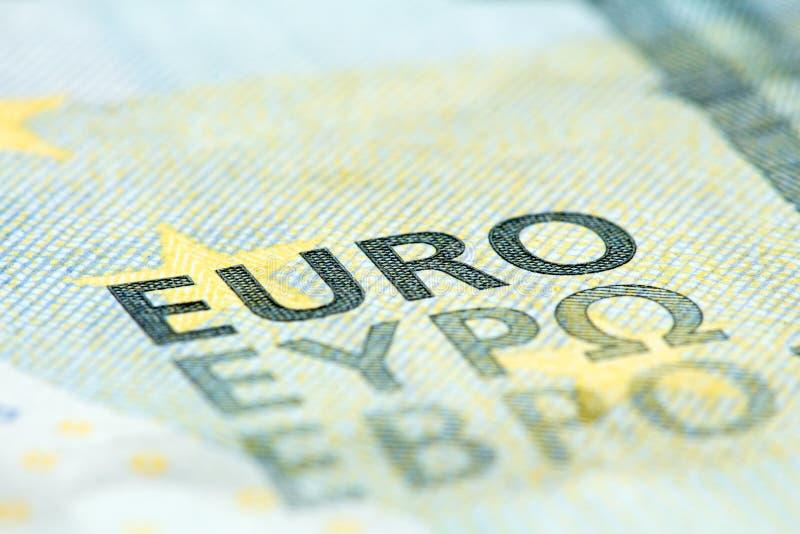 Детальный конец вверх банкноты евро 5 стоковое изображение rf