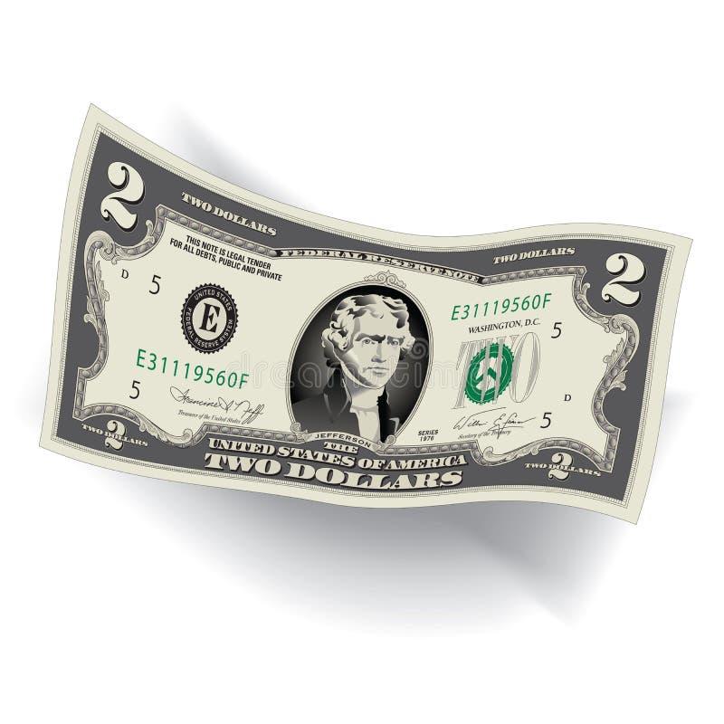 Детальный, стилизованный чертеж долларовой банкноты 2 иллюстрация штока