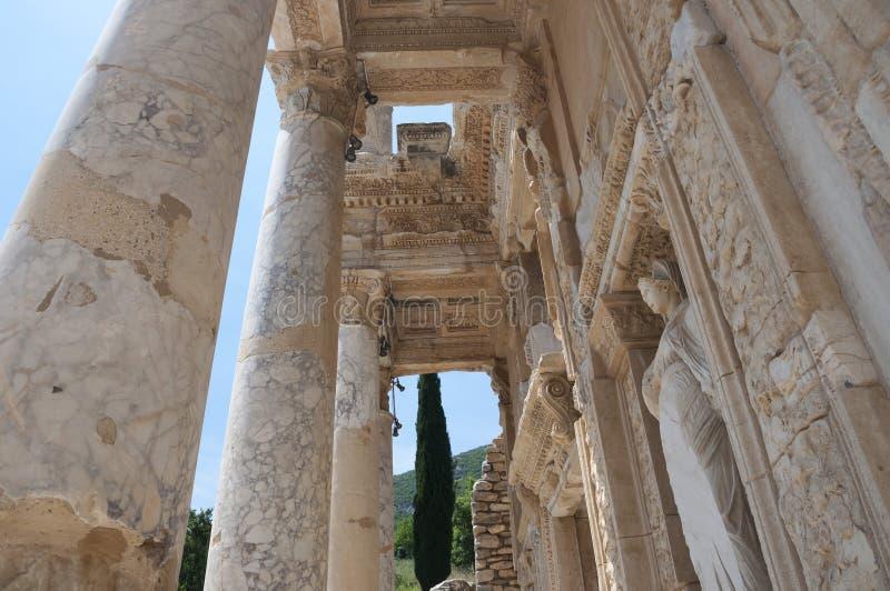 Деталь библиотеки Celsus, древний город Ephesus, Selcuk, t стоковая фотография rf