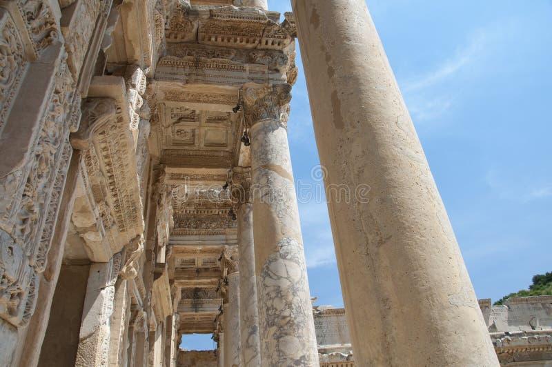 Деталь библиотеки Celsus, древний город Ephesus, Selcuk, t стоковые изображения