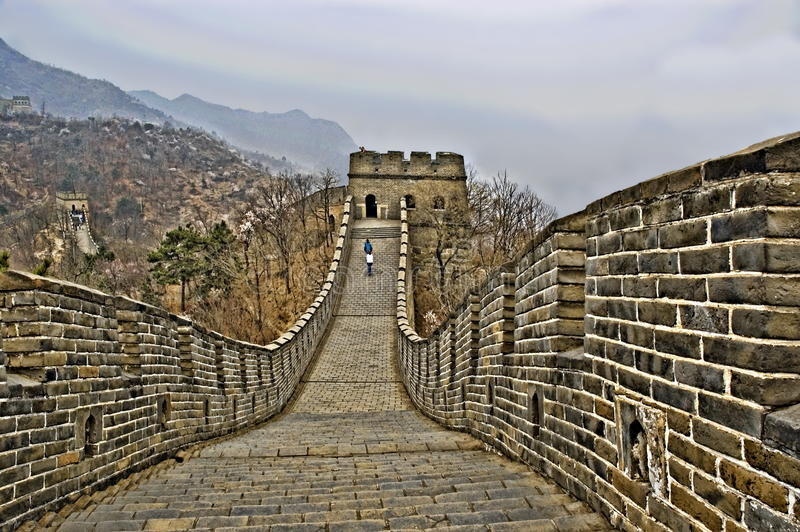 Деталь Великой Китайской Стены Китая в HDR стоковые изображения rf