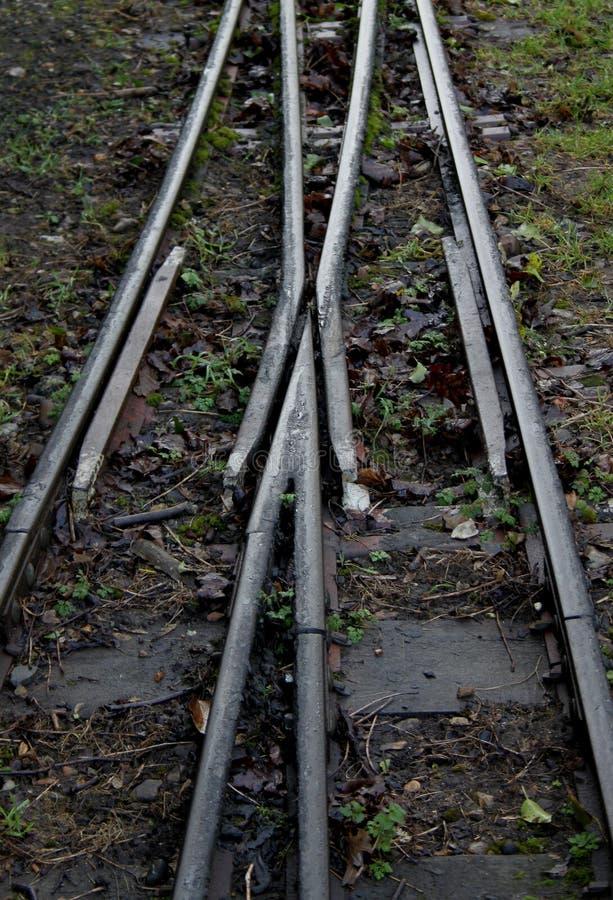 Деталь железнодорожного пути узкой колеи стоковые изображения rf
