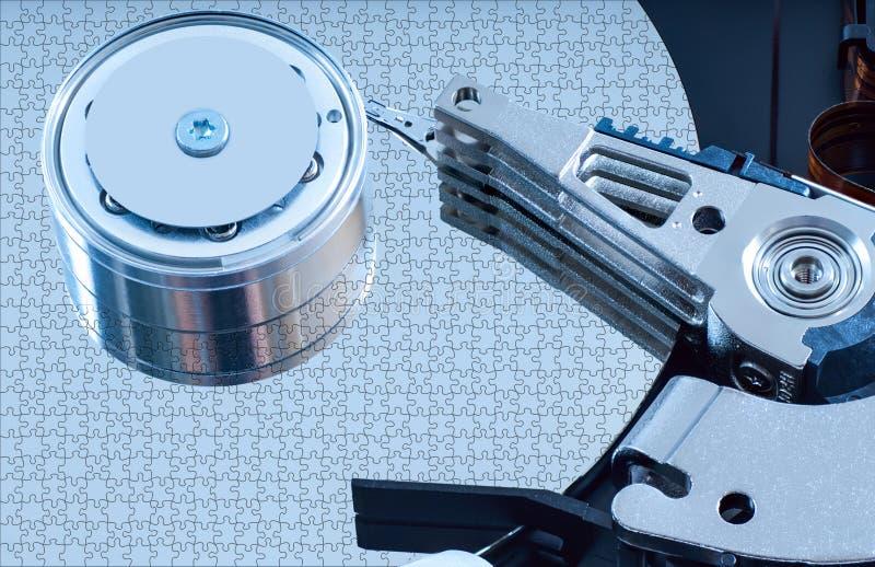 Деталь жёсткого диска с голубым оттенком стоковое изображение rf