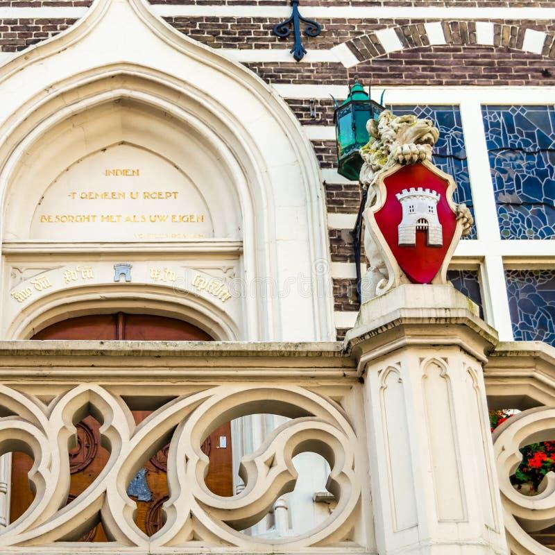 Деталь здание муниципалитета Алкмара архитектурноакустическая стоковое фото rf
