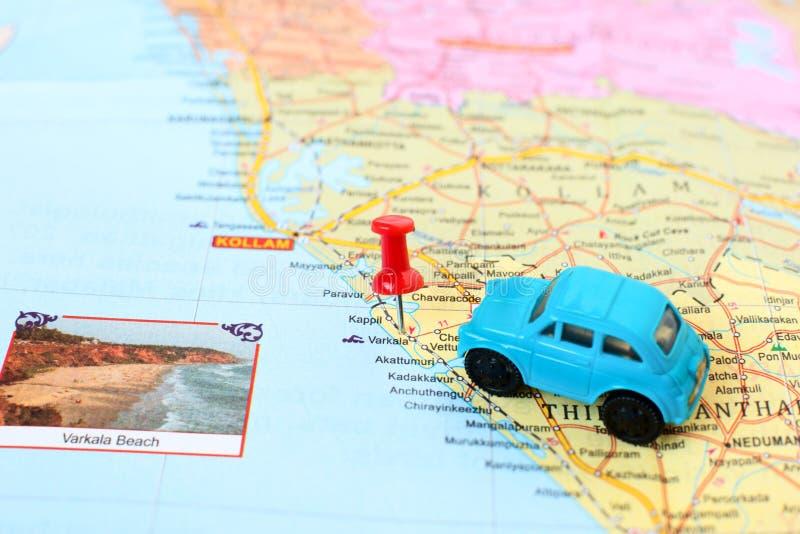 Деталь карты Кералы - концепция путешествия автомобиля к Varkala стоковое фото rf