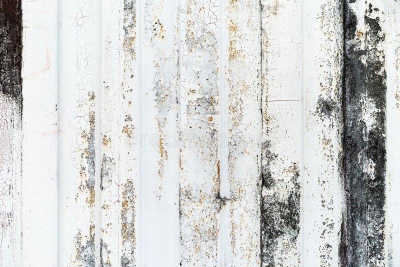 Деталь конца-вверх краски grunge на ржавой стене белого металла стоковое изображение