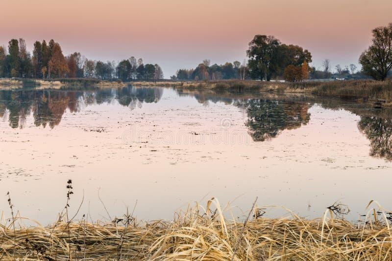 Деталь красивого озера на заходе солнца стоковые фото