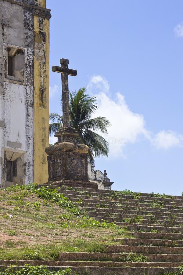 Деталь креста от старой церков в Olinda, Ресифи, Braz стоковое фото