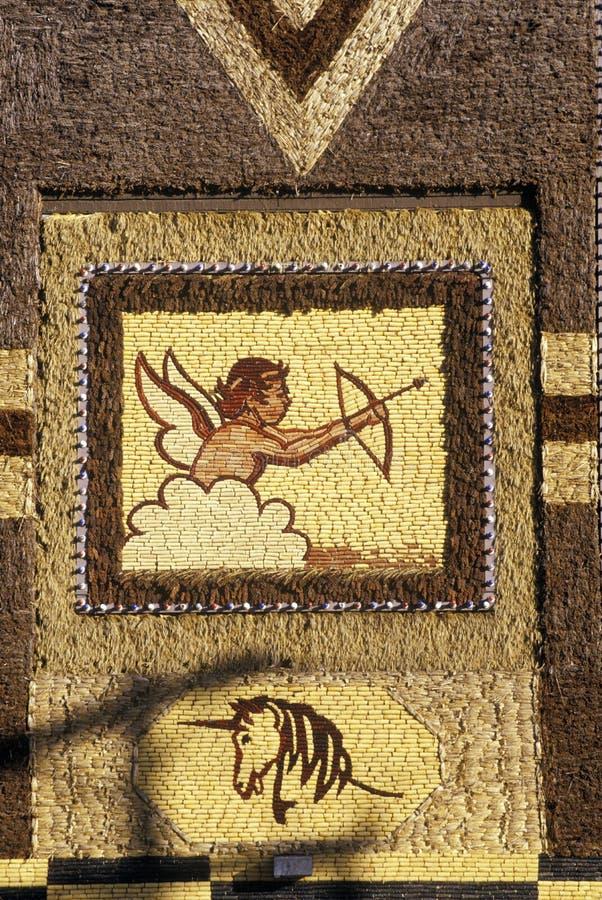 Деталь мозаики на дворце мозоли, привлекательности в западном Митчеле, SD обочины стоковые фотографии rf