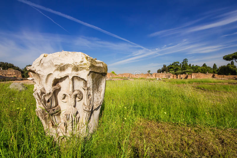 Деталь дома Augustus на холме Palatine в Риме стоковые фотографии rf