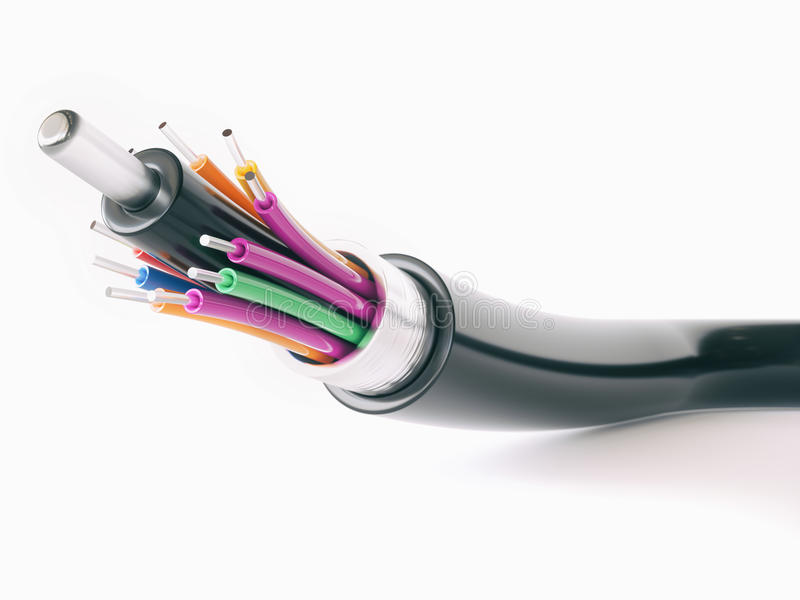 Деталь оптического кабеля волокна - перевод 3D стоковое фото