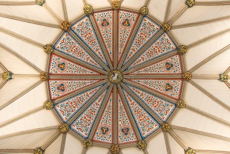 Потолок дома главы монастырской церкви Йорк, Великобритания стоковое изображение rf
