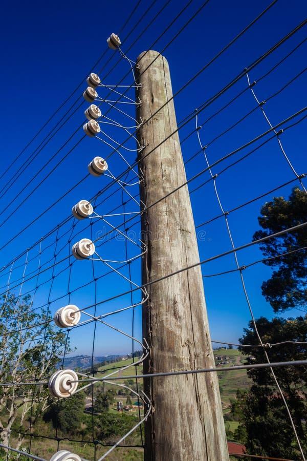 Деталь проводки электризуемого проволочного забора стоковая фотография