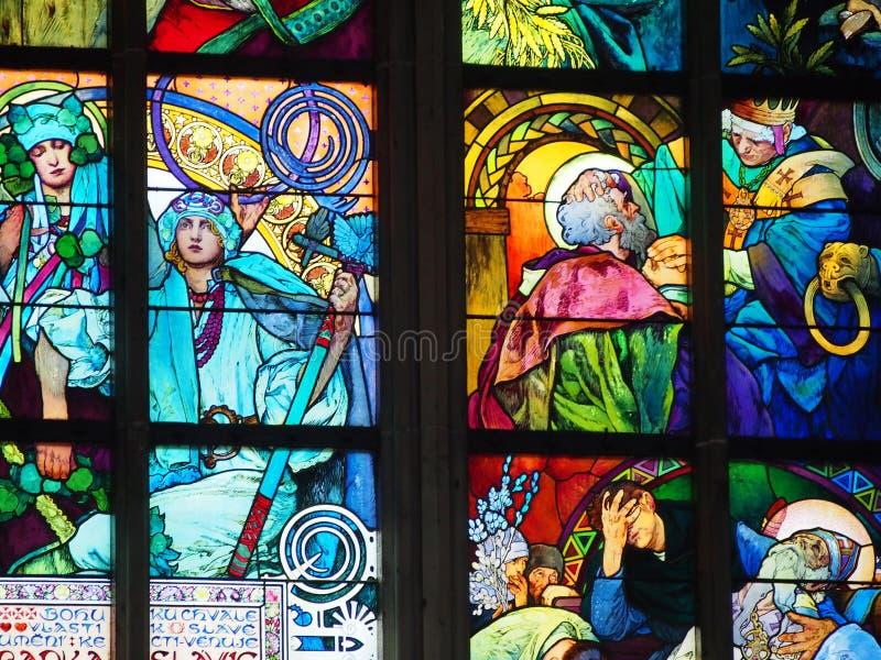 Деталь цветного стекла Праги Alfons Mucha стоковые изображения rf