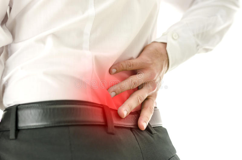 Деталь человека терпя от боли в спине стоковое фото rf