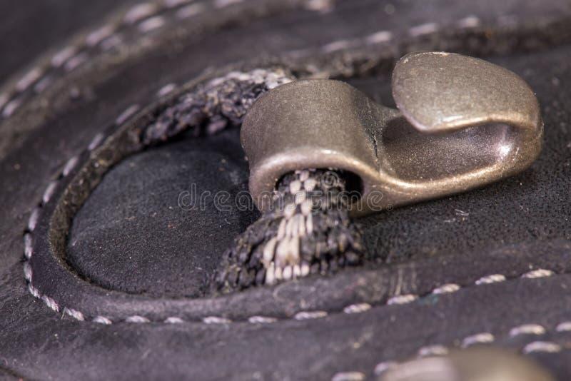 Деталь trekking крюка и петли ботинок стоковые изображения rf