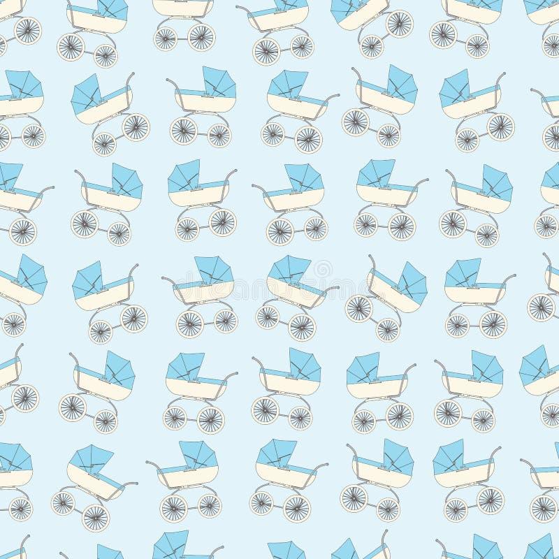 Детей шаржа предпосылки прогулочная коляска голубых иллюстрация штока