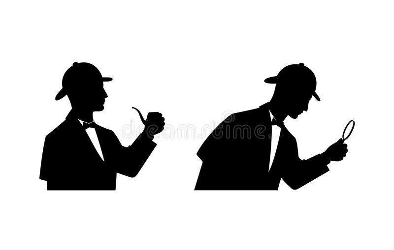 Детектив силуэта иллюстрация штока
