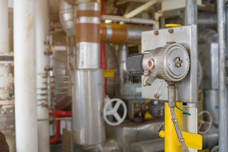 Детектор газа в зоне опасности для обнаруживает утечку углерода и посланный для того чтобы объявить сигнал тревоги к комнате цент стоковое изображение