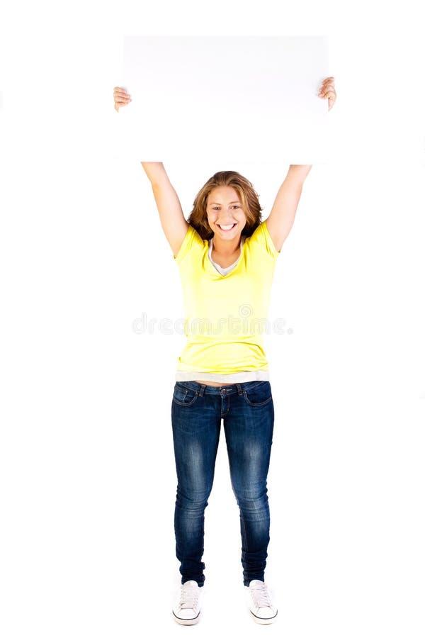 детеныши белой женщины пустого удерживания доски сексуальные стоковые фотографии rf