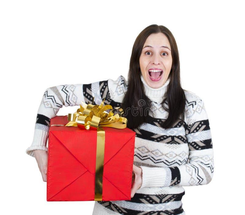 детеныши большой девушки подарка коробки счастливые красные стоковые изображения