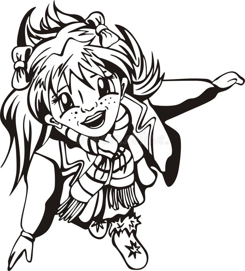детеныши девушки anime счастливые иллюстрация штока
