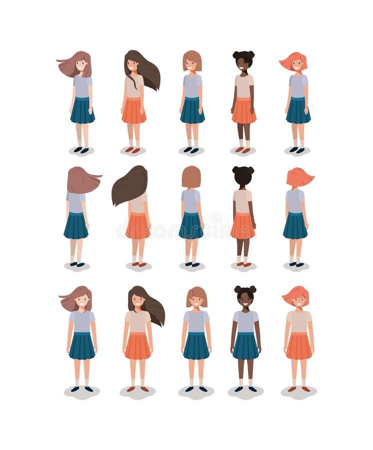 детеныши девушок предпосылки изолированные группой белые бесплатная иллюстрация