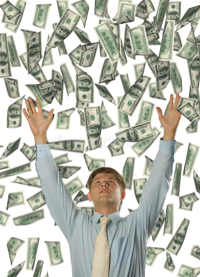 детеныши долларов бизнесмена падая стоковое изображение
