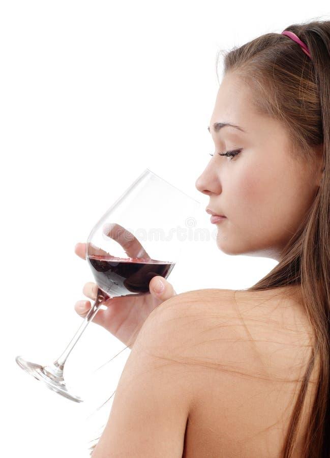 детеныши женщины вина вкуса стоковые фотографии rf