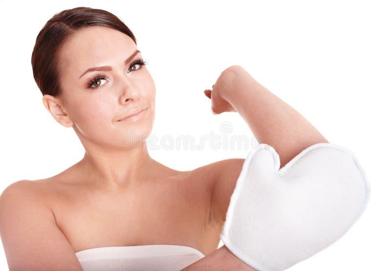 детеныши женщины губки тела ванны моя стоковые изображения