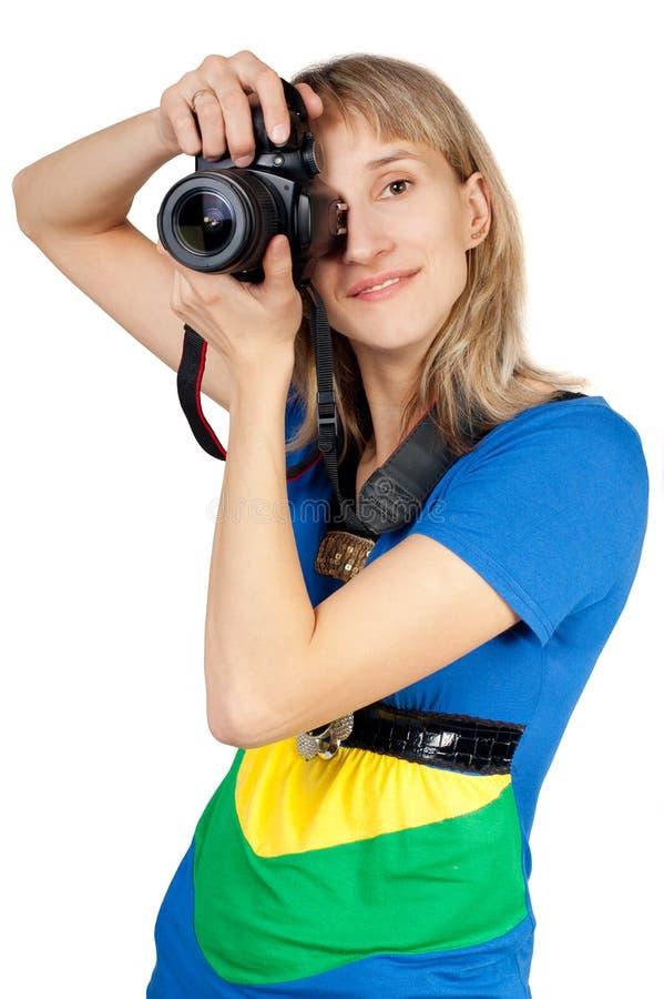 детеныши женщины камеры стоковые изображения rf