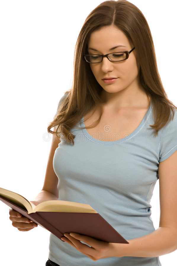 детеныши женщины книги милые стоковая фотография