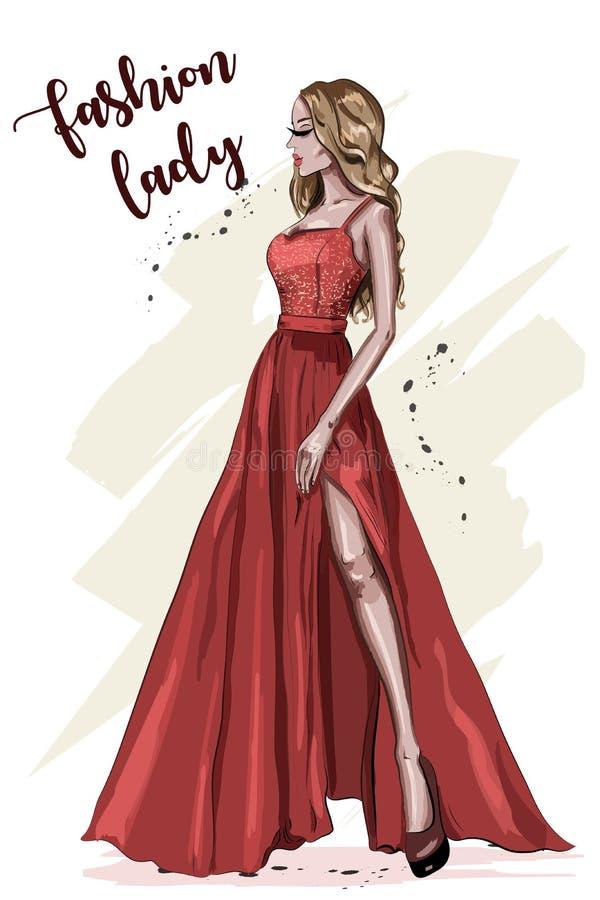 детеныши женщины красивейшего платья красные Девушка нарисованная рукой в одеждах моды модель способа стильная эскиз иллюстрация вектора